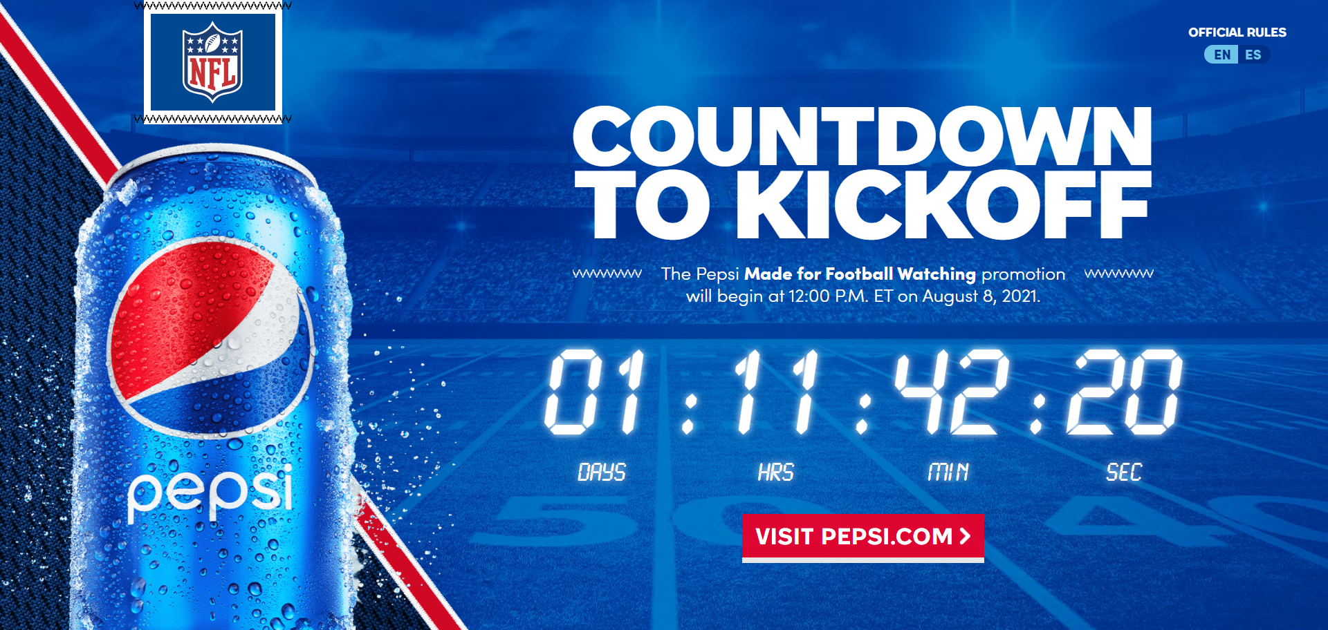 Pepsi Made for Football Watching Sweepstakes 2021-10-16