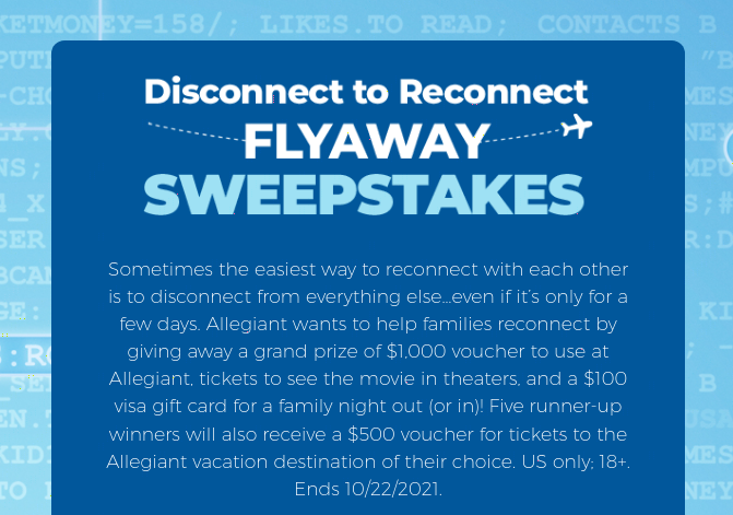 Disconnect to Reconnect Sweepstakes 2021-10-22
