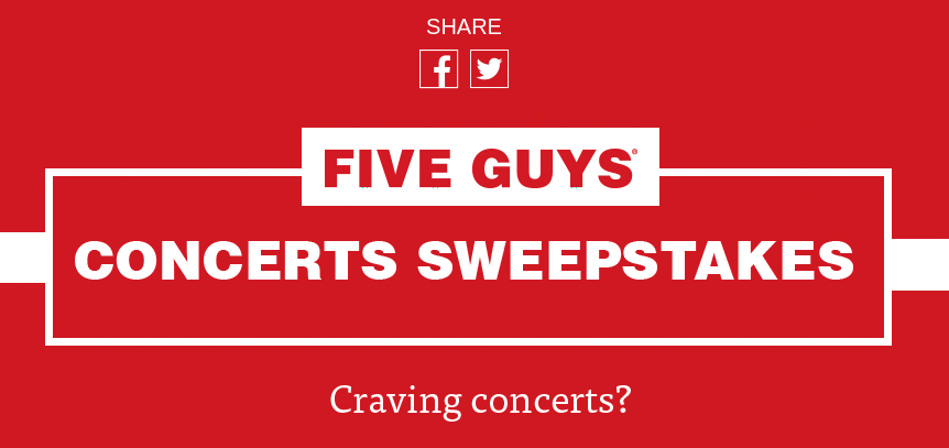 Five Guys Concert Sweepstakes 2021-10-10